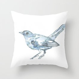 Nightingale Watercolor Sketch Throw Pillow