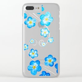 blue forget me not watercolor 2017 Clear iPhone Case