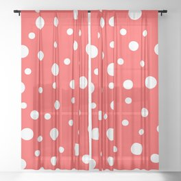 White Dots on Red Sheer Curtain