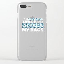 An Adventure Alpaca My Bags 4 Clear iPhone Case