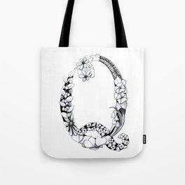 Floral Pen and Ink Letter Q Tote Bag