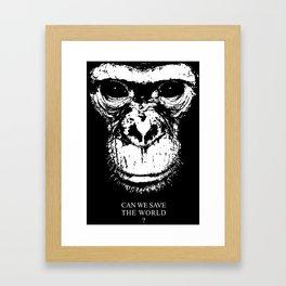 chimpanzee monkey can we save the world Framed Art Print