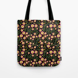 Flowers pattern with black background Tote Bag