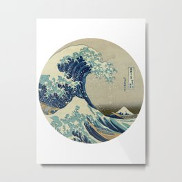Great Wave off Kanagawa circle Metal Print