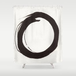 Enzo Zen Ink Painting Circle in Black and White Shower Curtain