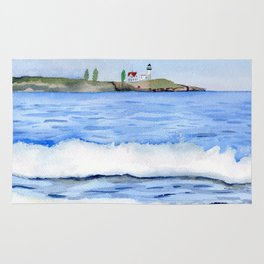 Ocean waves with Lighthouse Watercolor Art Rug
