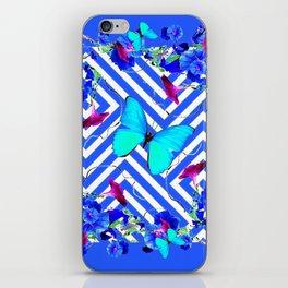 Geometric  Blue Butterflies &  Purple Morning Glories iPhone Skin