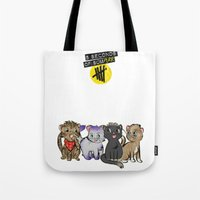 5 seconds of summer Tote Bags featuring 4 cats for 5 seconds - white by Australienidiots