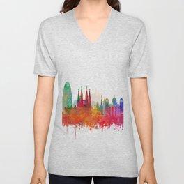 Barcelona Skyline Watercolor by zouzounioart Unisex V-Neck