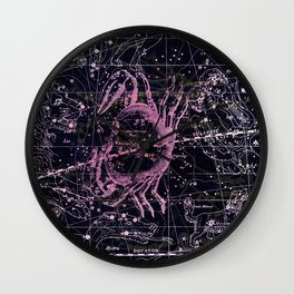Cancer | Constellation map | Zodiac | Sign sky | Stars | Universe Wall Clock