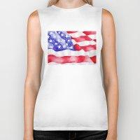 american flag Biker Tanks featuring American Flag by Bridget Davidson