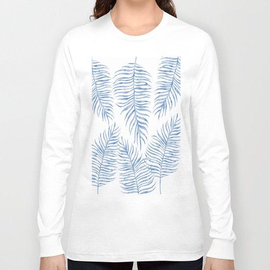 Fern Pattern Blue Long Sleeve T-shirt