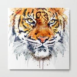 Tiger Face Close-up Metal Print