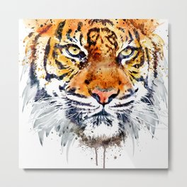 Tiger Face Close-up Metal Print