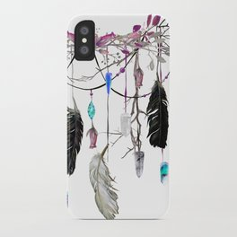 Raven Feathers And Roses Crystal Spirit Gazer iPhone Case