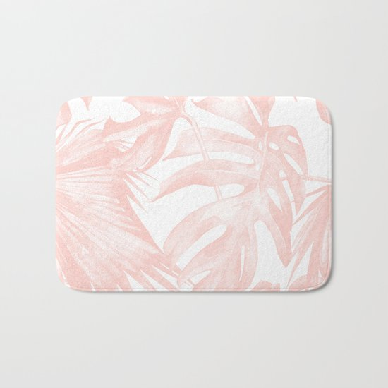 Tropical Leaves Pink and White Bath Mat