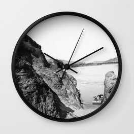 Flat boat moored in Needles Canyon, on the Colorado River, 1900-1950 Wall Clock