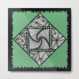 Paradox Tile on Green Metal Print