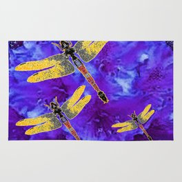 Golden Dragonflies Midnight Blue Dreamscape Rug