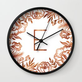 Letter E - Faux Rose Gold Glitter Flowers Wall Clock