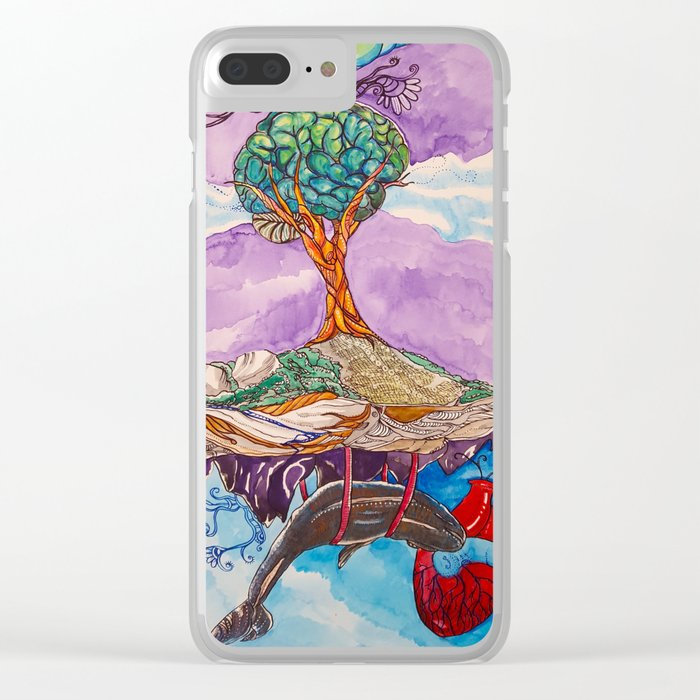 Floating Island Whale Heart 2015 by Finn Graves Clear iPhone Case