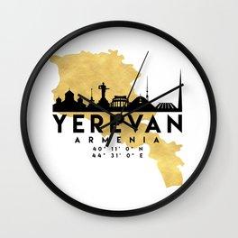 YEREVAN ARMENIA SILHOUETTE SKYLINE MAP ART Wall Clock