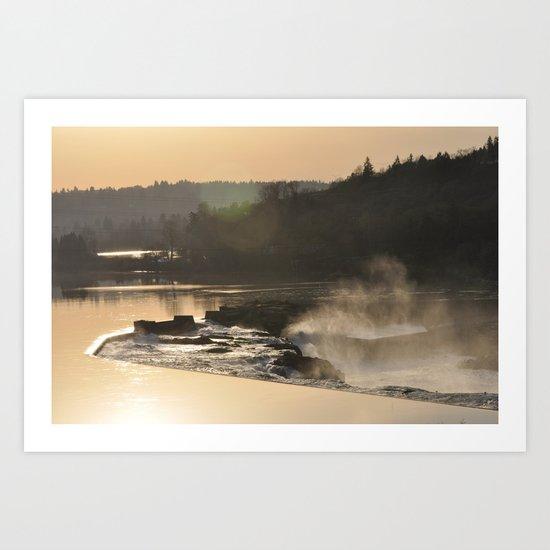 SUNSET OVER WILLAMETTE FALLS Art Print
