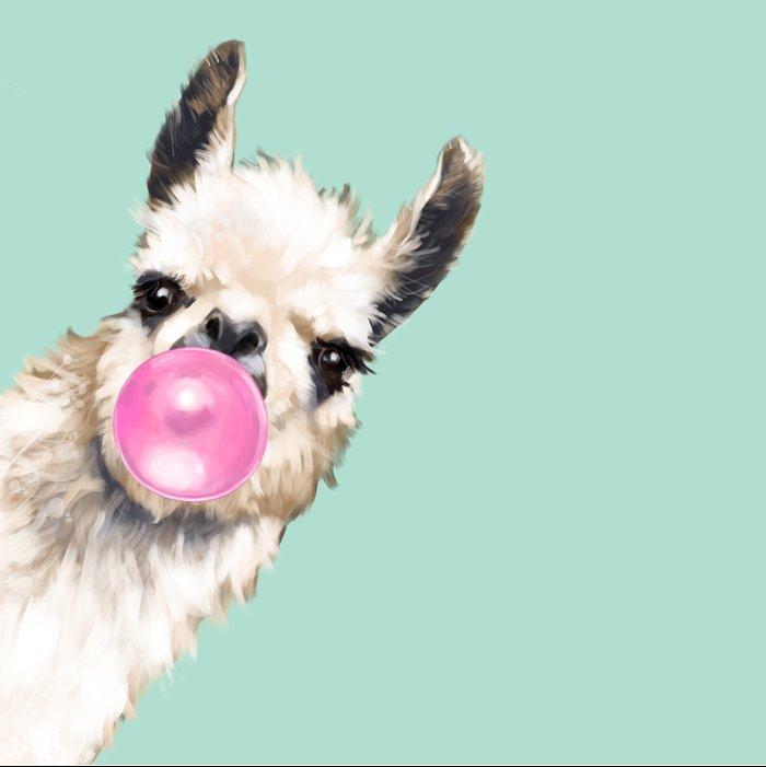Bubble Gum Sneaky Llama in Green Duvet Cover