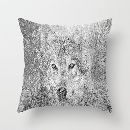 Wolf camouflaged with the forest Throw Pillow