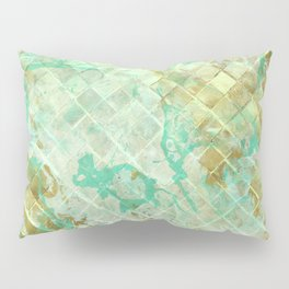 Turquoise & Gold marble mosaic Pillow Sham