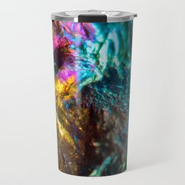 Rainbow Oil Slick Crystal Rock Travel Mug