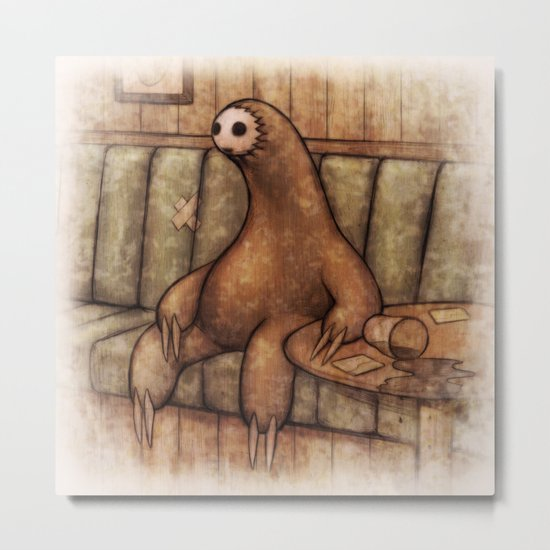 Drunk Sloth Metal Print