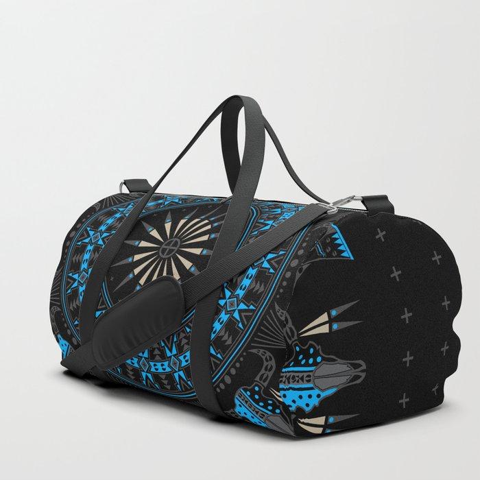 Buffalo Skull and Feathers (Blue) Duffle Bag