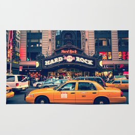 New York Taxi Art Hard Rock Rug