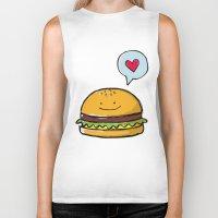 hamburger Biker Tanks featuring Hamburger Doodle by Andrea Tobar