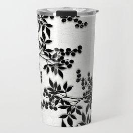 Black and White Leaf Toile Travel Mug