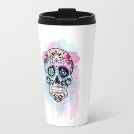 Watercolor Sugar Skull Travel Mug