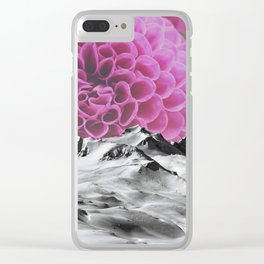 Ice Capped Dahlias Clear iPhone Case