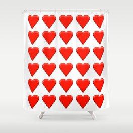 Retro Video Game Heart Pixel Art Shower Curtain