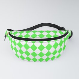 Bright Neon Green and White Harlequin Diamond Check Fanny Pack