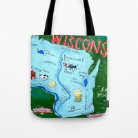 wisconsin Tote Bags featuring WISCONSIN by Christiane Engel