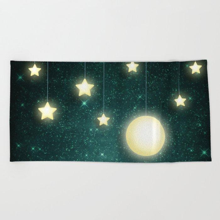 Moon & Stars 03 Beach Towel