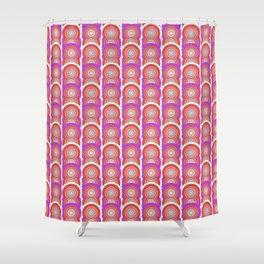 Red Orange Purple Globular circles interlocking print Shower Curtain
