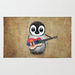 Baby Penguin Playing Serbian Flag Guitar Rug