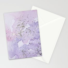 Pastel Glitter Watercolor Painting Stationery Cards