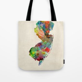 New Jersey Watercolor Map Tote Bag