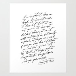 Love is Patient Love is Kind - 1 Corinthians 13 Art Print