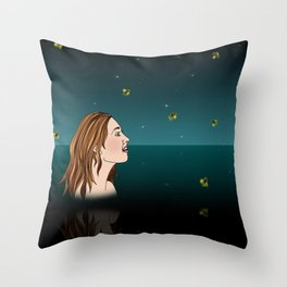Swimming With Fireflies Throw Pillow