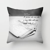 jane austen Throw Pillows featuring Jane Austen Letter by KimberosePhotography