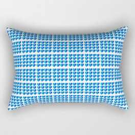 Love Hearts Grid Pattern Classic Blue Through Aqua Ombre Rectangular Pillow